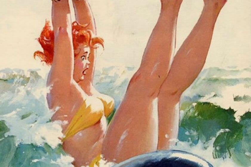 mujer en el agua disfrutando de su sana locura
