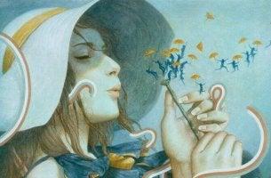 Mujer soplando una flor mostrando paciencia