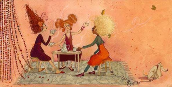 Mujeres reunidas tomando café
