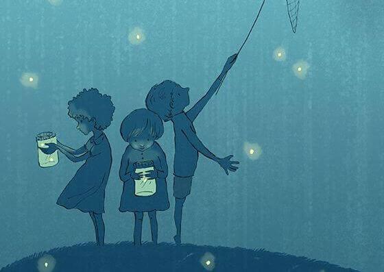 Niños cogiendo luciérnagas