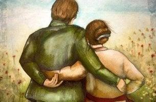 pareja mayor abrazada