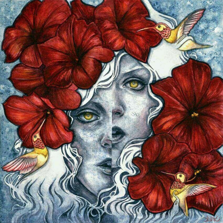 Rostro de mujer con flores