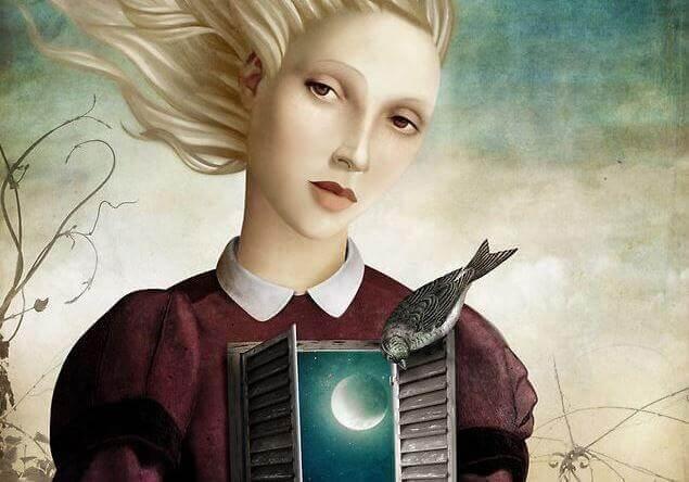 Mujer con ventana en el pecho donde se ve la luna