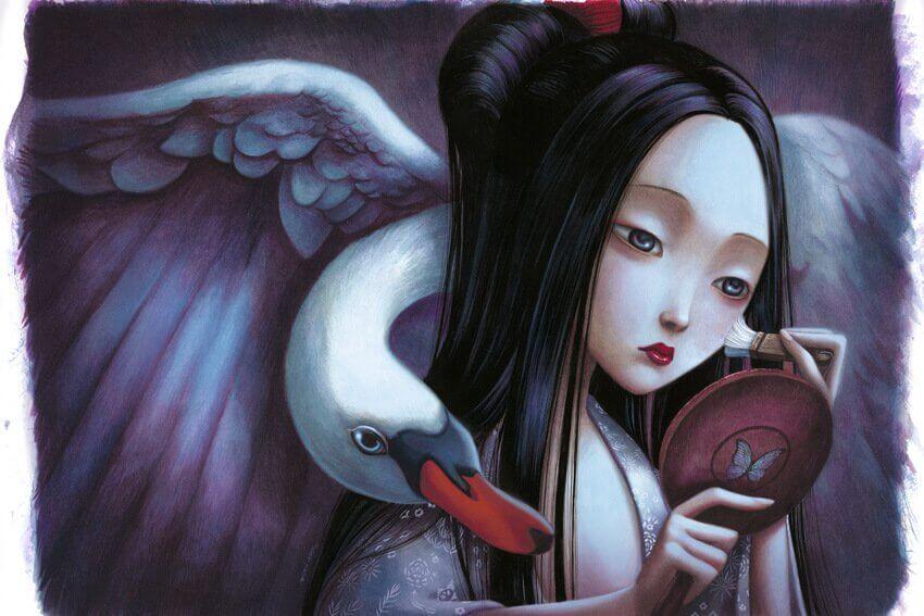 Mujer infeliz mirándose al espejo