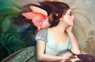 amor propio mujer con pájaro rosado en el hombro