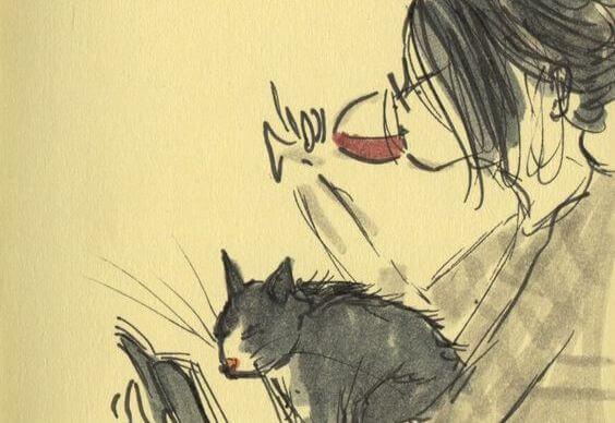 chica bebiendo vino con gato