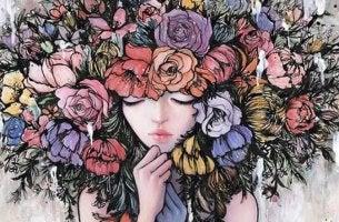 chica con flores en la cabeza