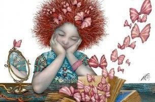 chica mirando un libro que se abre con mariposas