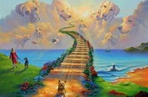 Puente hacia el cielo para representar la leyenda del puente del arcoíris