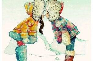 Esquimales dándose un beso