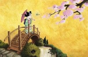 Geisha cruzando puentes