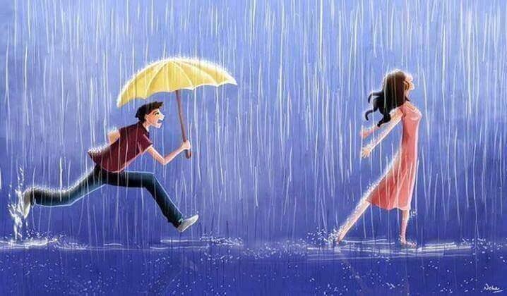 Hombre con un paraguas