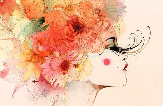 mujer con cabello floral