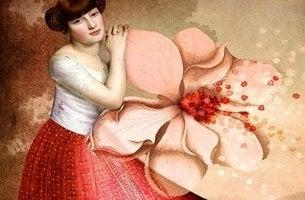 mujer con flor