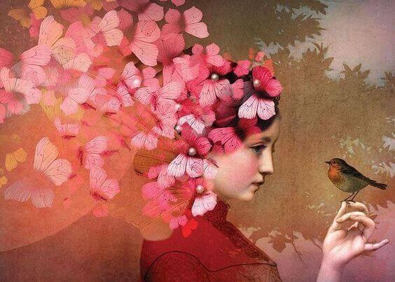 Mujer con mariposas en la cabeza