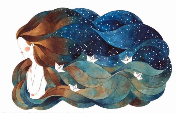 mujer con barcos en el cabello
