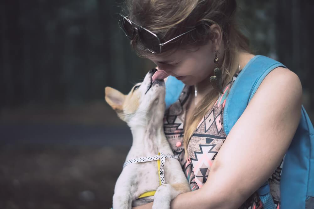 Mujer y perro amor