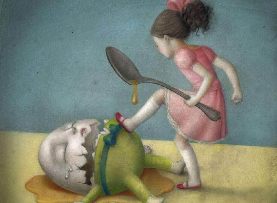 Alimentación emocional, niña pisando un huevo