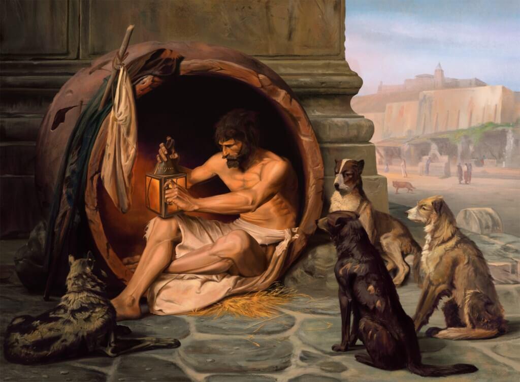 Perros mirando a filósofo