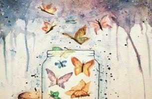 tarro de mariposas