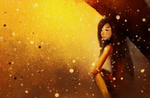 Mujer esperando con un paraguas