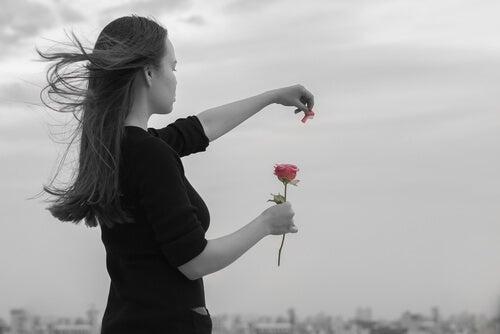 Niña quitándole pétalos a una rosa