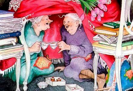 ancianas tomando café