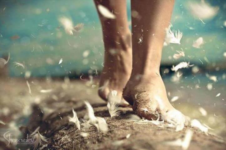 Pies caminando sobre la arena y las plumas