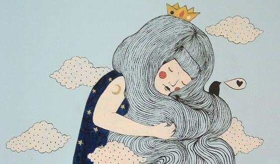 chica con corona en la cabeza mostrando confianza