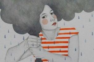 chica con nubes en el pelo