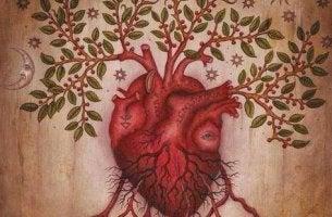 corazón con hojas y raíces