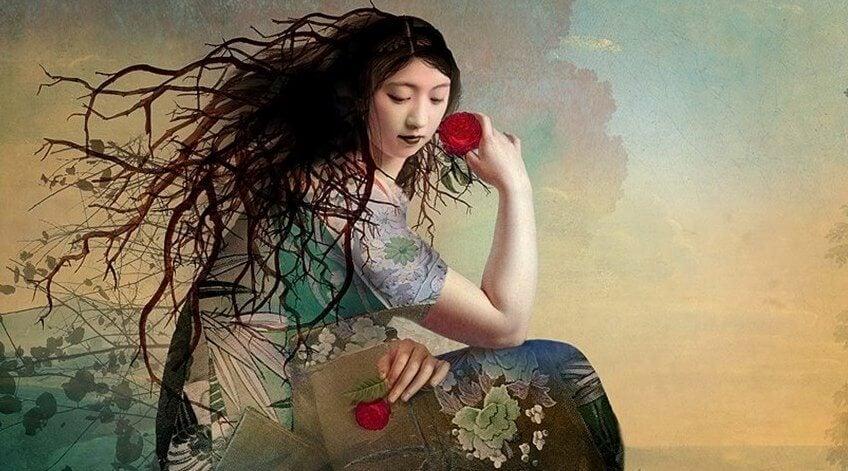 mujer con flor roja