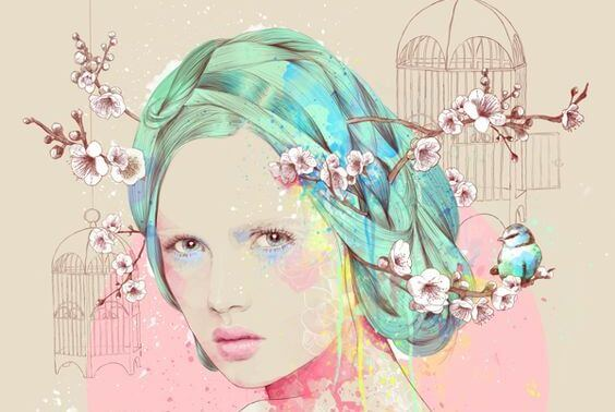 mujer con flores de almendro en el cabello