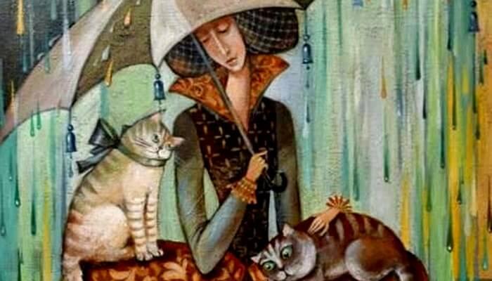 Mujer con gatos