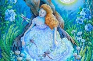 mujer con libélulas