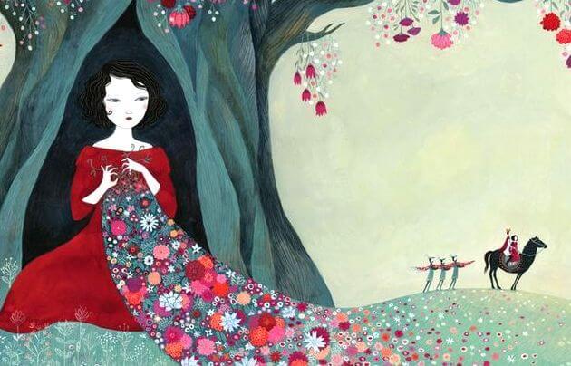mujer con manto de flores