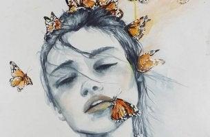 mujer con mariposas simbolizando un duelo