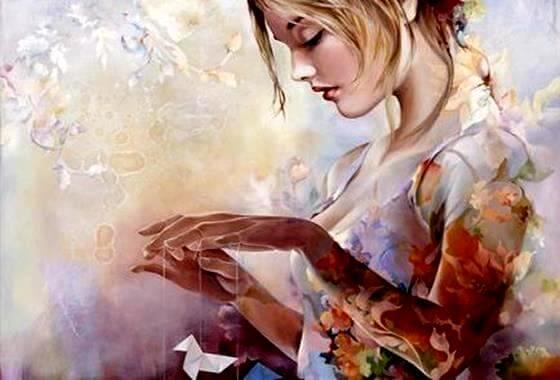 mujer con pajarita de papel
