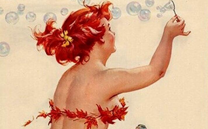 mujer haciendo pompas de jabón