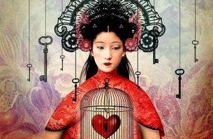mujer con el corazón en una jauka