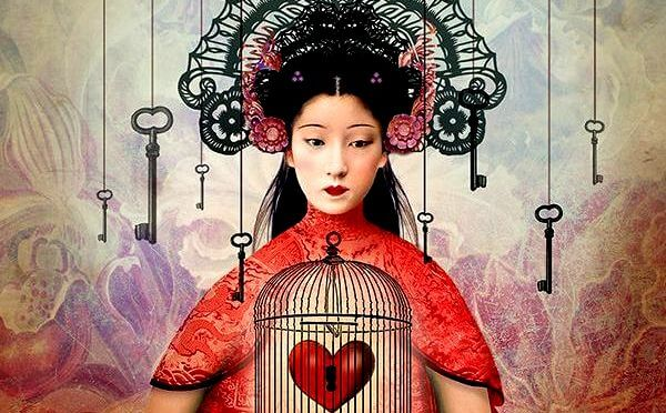 woman with heart in cage