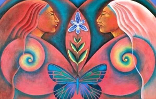 mujeres nativas con mariposa en el centro