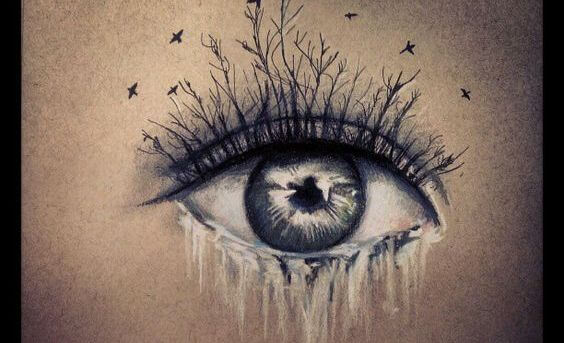 ojo llorando