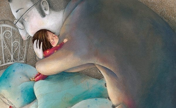 padre abrazando a su hija