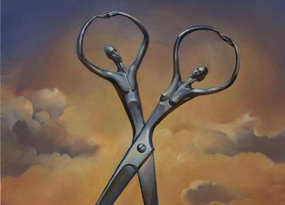 Tijeras en forma de hombre y mujer