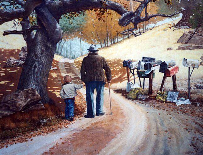 Hombre paseando con su nieto mostrando la complicidad de los abuelos