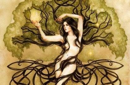 Mujer rodeada de ramas