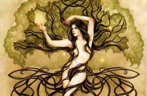 mujer árbol feliz de demostrar libertad