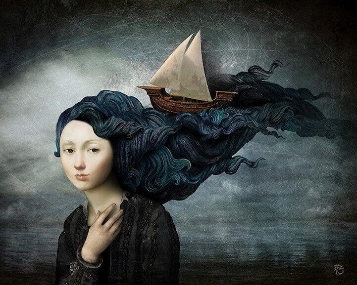 Mujer con un barco en el pelo en una postura de dignidad