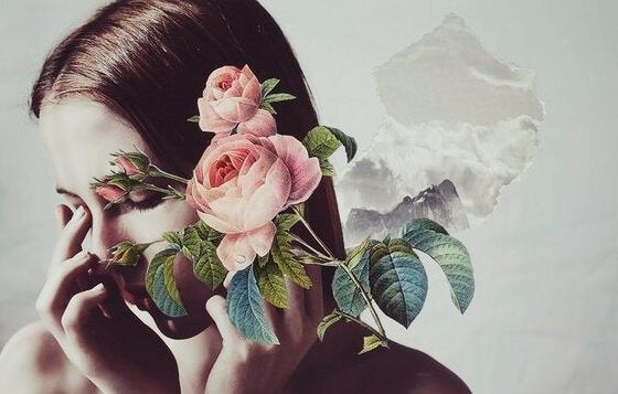 Mujer triste con flores
